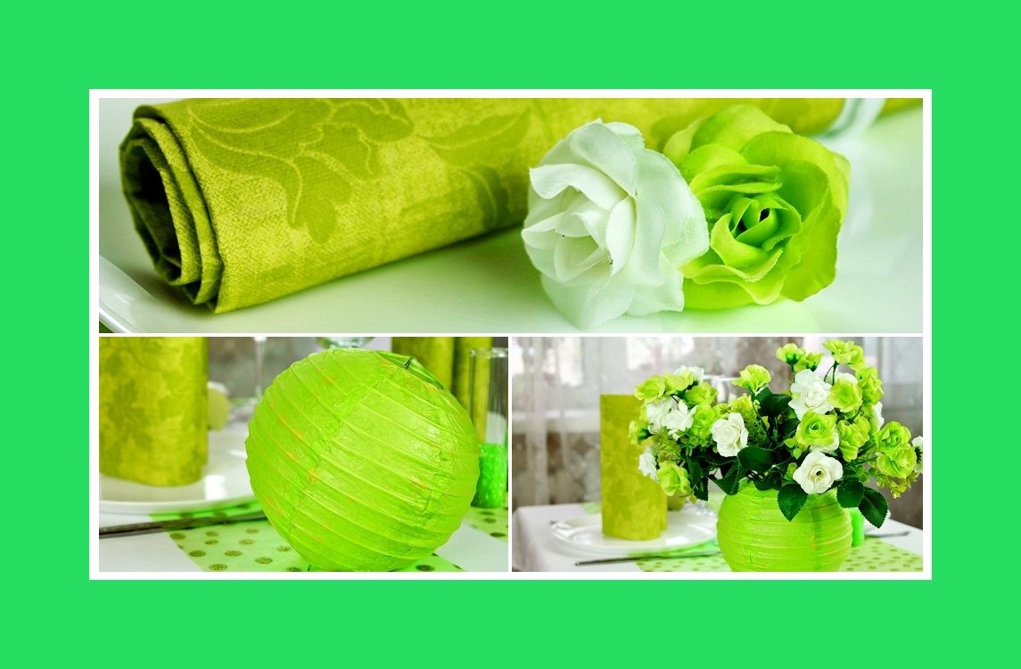 Grüne & weiße Blumendeko