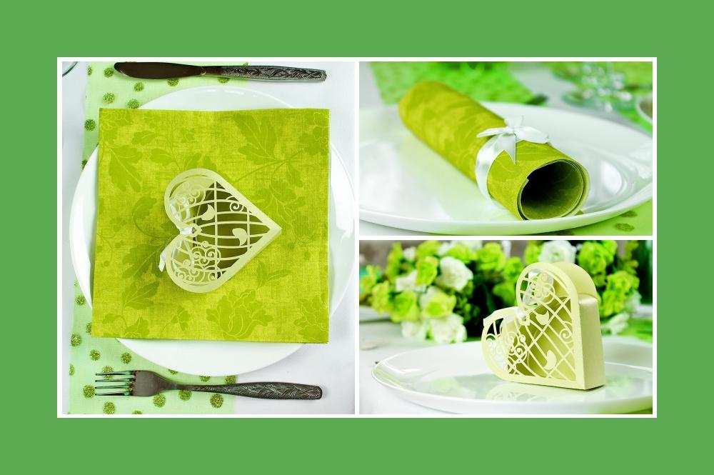Grüne Dekoration für den Tisch