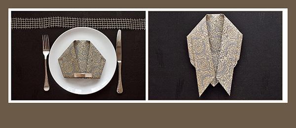 Papierservietten falten Hemd elegant