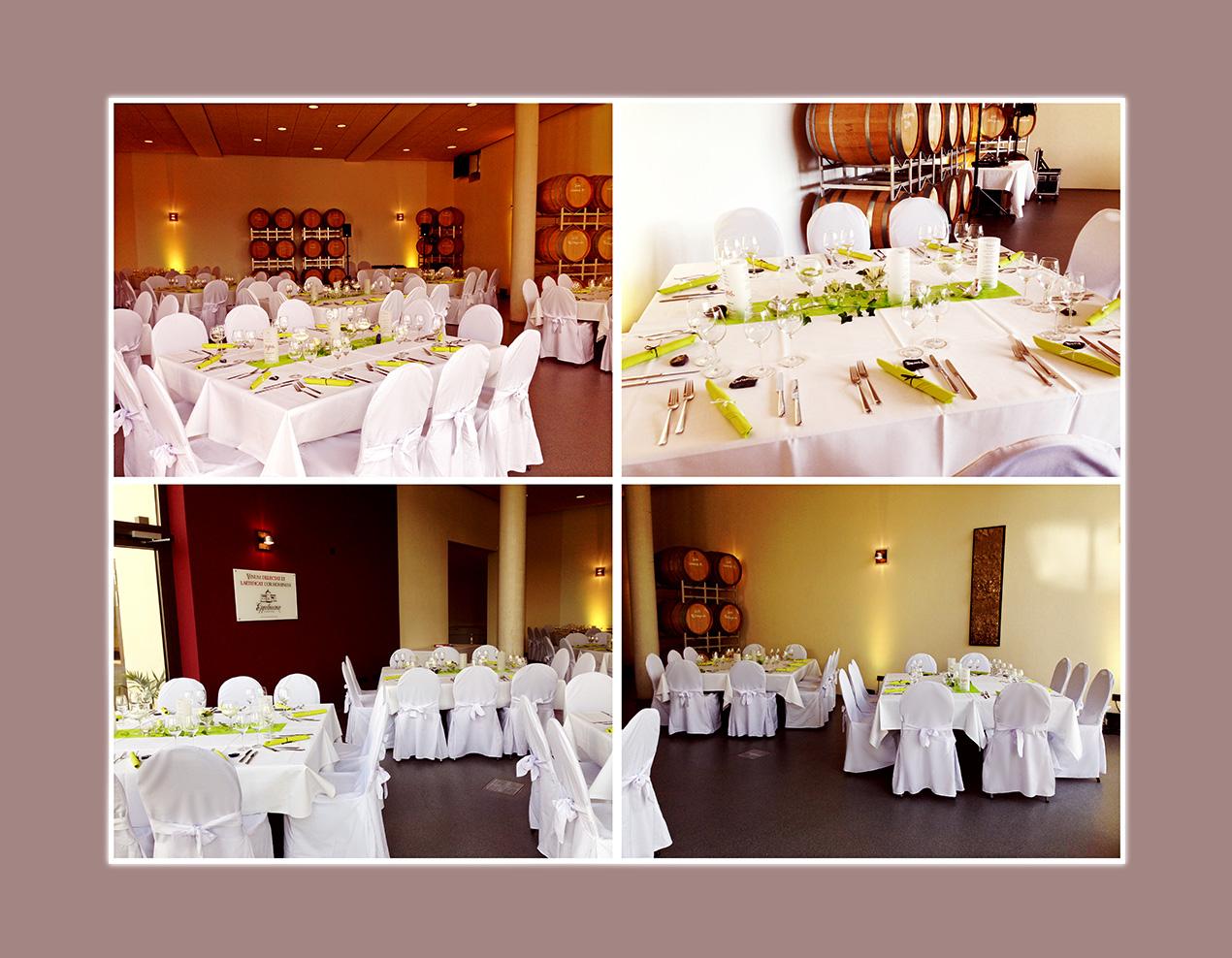 Hochzeitsdeko. BarriqueScheune im Weingut Eppelmann als Hochzeitslocation Hochzeitsaal in Mainz Bad Kreuznach